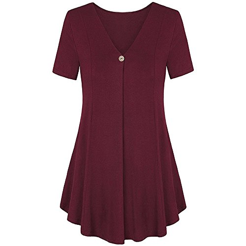 AmyDong Ladies Dress Lady's Skirt Women Loose Pocket Casual O Neck Button Short Sleeve Mini Dress Leisure Relaxed Polyester (L, Wine) ()