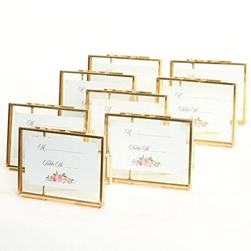 Contemporary Place Card Holders - Koyal Wholesale Pressed Glass Floating Photo Frames 8-Pack Stands Horizontal Vertical Pictures, Table Numbers, Place Cards (Gold, 3 x 4)