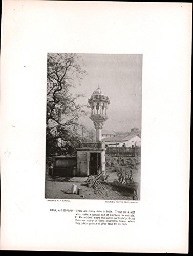 Ornamental Tower Bird Feeder India Ahmedabad 1913 antique photogravure print