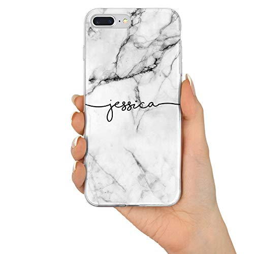 TULLUN Custom Grey Black Marble Personalized Name Initials Text Hard Phone Case Cover for iPhone - Grey Marble Name V1 - for iPhone Xs Max