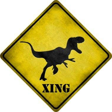 Bargain World T-Rex Xing Novelty Metal Crossing Sign Sticky Notes