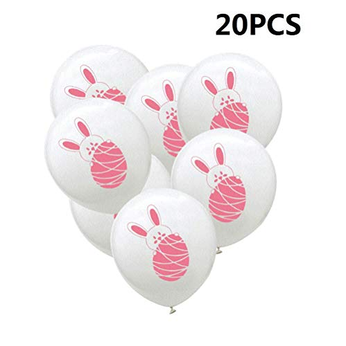 (20pcs Easter Latex Balloons Rabbit Buuny Egg Printed Balloons Decorative Balloons for Easter Festival Party Supplies Decoration 12inch - Pink &)