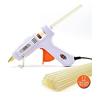 MELTOX Dual Watt Hot Melt Glue Gun Kit with 12 8-Inch Sticks, E-book, Adjustable Temperature 60W/100W and Retractable Stand