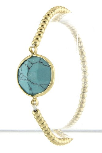 TRENDY FASHION JEWELRY FLATTEN ORB FACETED JEWEL BRACELET BY FASHION DESTINATION   (Turquoise)