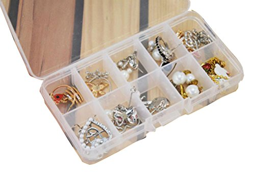Mandy 10 Grids Adjustable Jewelry Beads Pills Nail Art Storage Box Case (White) from Mandy