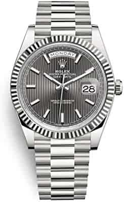 2f3ca5d2b8b Rolex Oyster Perpetual Day Date 40 Automatic Dark Rhodium Stripe Motif Dial  18kt White Gold Mens