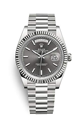 Rolex Oyster Perpetual Day Date 40 Automatic Dark Rhodium Stripe Motif Dial 18kt White Gold Mens Watch 228239RSSP