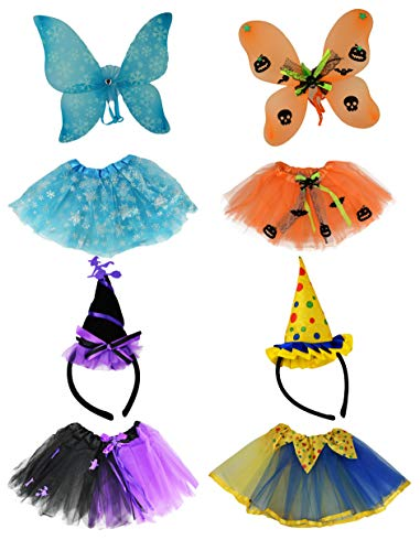 (Set of 4 Tutu Costume Sets! Ice Princess, Witch, Clown, and Pumpkin Patch Fairy! Wings and Headbands! (Set of All)