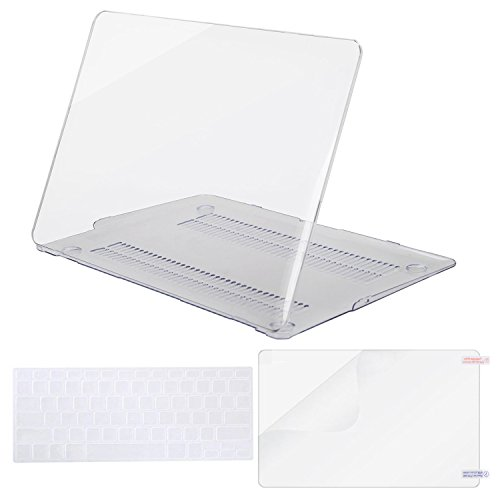 MOSISO Plastic Hard Case Shell with Keyboard Cover with Screen Protector Compatible MacBook Air 13 Inch (Models: A1369 and A1466), Crystal Clear