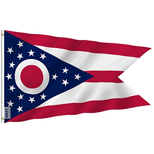 Anley [Fly Breeze 3x5 Foot Ohio State Polyester Flag - Vivid Color and UV Fade Resistant - Canvas Header and Double Stitched - Ohio OH State Flags with Brass Grommets 3 X 5 Ft