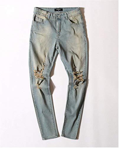 Blau Jeans Slim Pantaloni Fit Abbigliamento Casual E Da Slavati Strappati In Adelina Uomo Denim Vintage WY6Bqwca