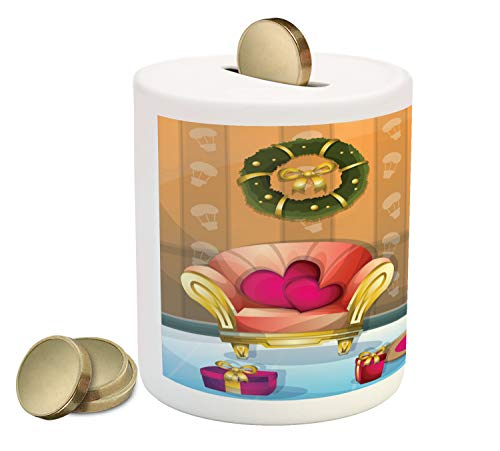Ambesonne Christmas Piggy Bank, Happy Noel Themed Cartoon of Room with Seat Flourish Tree and Gift Boxes, Printed Ceramic Coin Bank Money Box for Cash Saving, ()