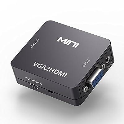 VGA to HDMI Adapter, VGA audio video to HDMI converter for tv monitor computer laptop