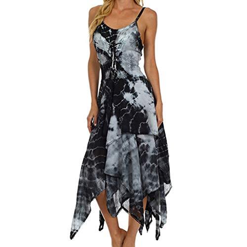 WEISUN Women Strap Dress Sexy Tie Dyeing Irregular Lace Up Dress Summer Corset Bodice Handkerchief Hem Dress Black