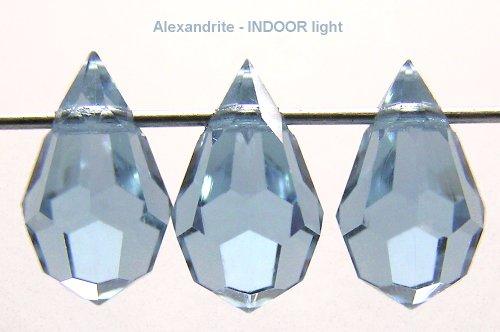 Czech Machine Cut Drop Pendants in Alexandrite, 6x10mm, 12 pieces