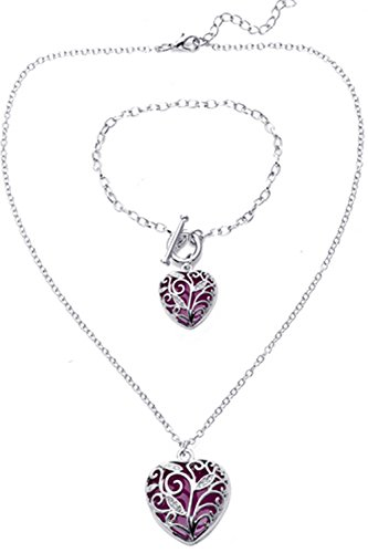 Big Heart Locket Glow In the Dark Necklace and Bracelet SET Polished Jewelry Pendant Steampunk Fairy Magical (Purple)