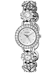 GUESS Womens U0527L1 Silver-Tone Jewelry Inspired Watch with Genuine Crystals & Self-Adjustable Bracelet