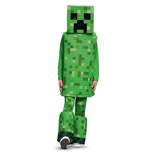 Creeper Prestige Minecraft Costume, Green, Medium (7-8) -
