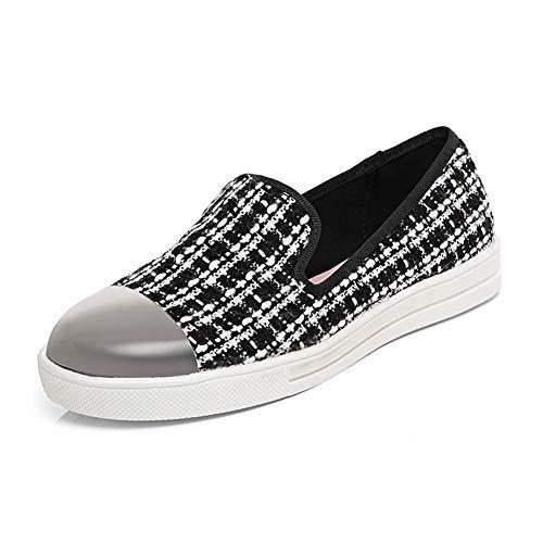 Zapatillas con Puntera Zapatos SendIt4Me Texured Blanco Espejo Mocasín Blanco Planos Negro w0zw1qYx4