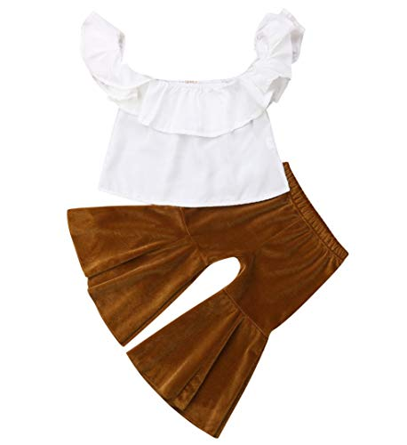Toddler Baby Girl Clothes Outfits Paris Sleeveless Vest Tops T-Shirt+Floral Wide Leg Casual Pants Bell-Bottom Leggings Brown ()