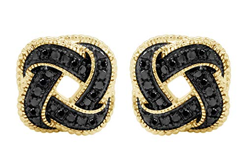 Aria Jewels Black Diamond Accent Love Knot Stud Earrings in 14K Yellow Gold Over Sterling Silver For Women (1/10cttw)