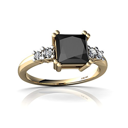 (14kt Yellow Gold Black Onyx and Diamond 6mm Square Art Deco Ring - Size 6)