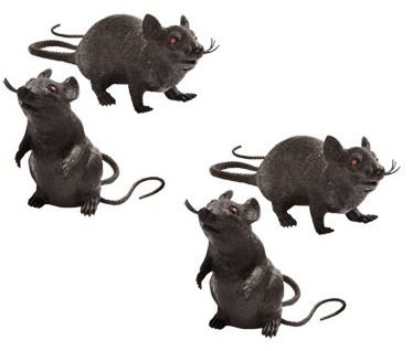 Set of 4 Spooky Plastic Squeaking Rats Halloween Decorations