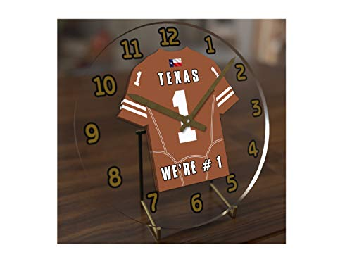 (FanPlastic College Football USA - We're Number ONE American Football Desktop/Table Clocks - Support Your Team !!! (Texas Longhorns))