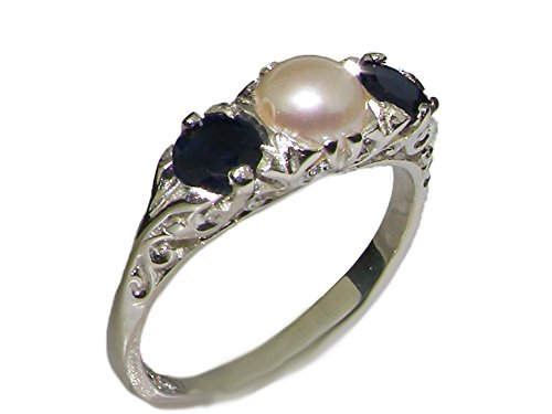 925 Sterling Silver Cultured Pearl and Sapphire Womens Trilogy Ring - Size 4.75 ()