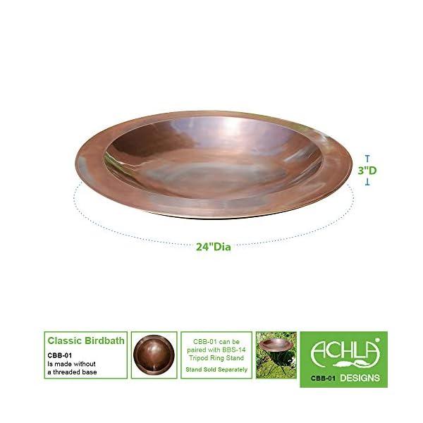 Achla Designs 24-in Round Classic Copper Birdbath Bowl 3