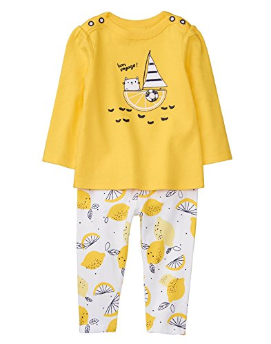 Gymboree Baby Girl Long Sleeve Set, Bon Voyage Lemon, 0-3 mo