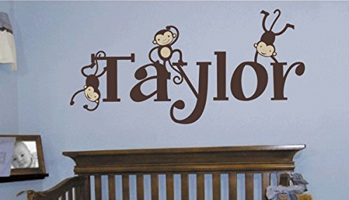 Customer Name Wall Sticker Decal for Kids Room Girls Boys Removable Vinyl Custom Name Personalized Monkey Wall Art Decoratiion 16 x 28