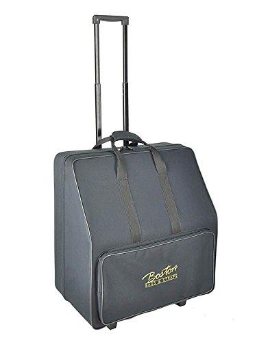 Boston 80-Bass Akkordeon Koffer/Trolley (Akkordeontrolley, Holzkern, weiche Plüsch-Polsterung, 56 x 50 x 33 cm, festes wasserabweichendes Oberflächenmaterial schwarz