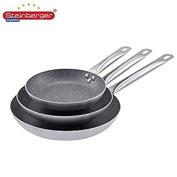 piedra Berger - Juego de 3 sartenes aluminio asas de acero inoxidable Cocinar Hornear Inducción: Amazon.es: Hogar