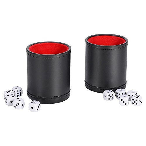 SMONET Traditional Professional PU Leather Dice Cup Set with 5 Poker Dices and Cotton Canvas Storage Bag (Black, Pack of 2)
