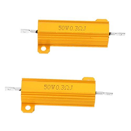 SODIAL(R) 2 Pcs 50 Watt Power 5% 0.3 Ohm Resistance Value Aluminum Resistors