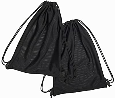 2 Multi Functional Mesh Bag With Drawstring Shoulder Straps For Swimming, Beach, Diving, Travel, Gym - 2 Pack Black