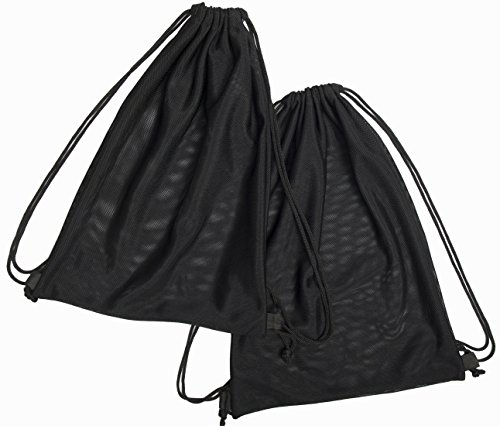 Sun Life Style 2 Multi Functional Mesh Bag with Drawstring Shoulder Straps for Swimming, Beach, Diving, Travel, Gym - 2 Pack Black (16 x 12 inch, Wet-or-Dry-Environment)