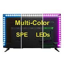 SPE Bias Lighting for HDTV (78-inch, 60 LED, Multi-Color RGB) - USB LED Backlight Strip with Dimmer for Flat Screen TV LCD, Desktop Monitors