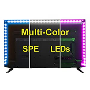 USB LED Lighting Strip for HDTV - Medium (78in / 2m) - Multi-Color RGB - USB LED Backlight Strip with Dimmer for Bias Lighting HDTV, Flat Screen TV LCD, Desktop Monitors, Kitchen Cabinets