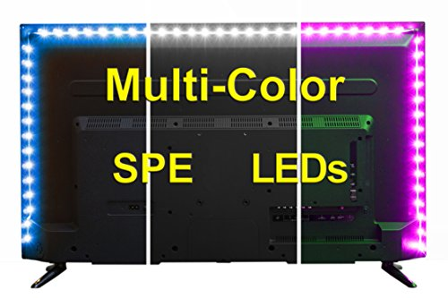 USB LED Lighting Strip for HDTV - Medium (78in / 2m) - Multi-Color RGB - USB LED Backlight Strip with Dimmer for Bias Lighting HDTV, Flat Screen TV LCD, Desktop Monitors, Kitchen Cabinets