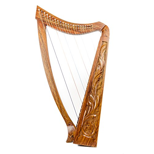 22 String harp SOLID ROSEWOOD Extra Strings & Carrying case Great for Teenagers by ROYAL HARPS