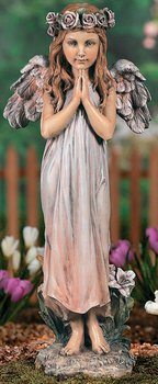 Praying Angel with Rose Halo Religious Outdoor Garden Lawn Statue