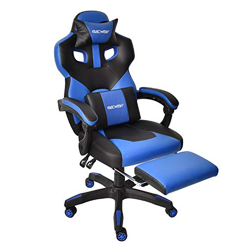 Video Gaming Office Desk Chair – Ergonomic PU Leather Swivel Reclining Chair High Back Executive E-Sports Computer PC Video Game Chair with Footrest Adjustable Armrest and Lumbar Support