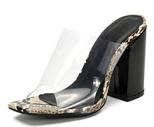 Womens Clear Wedge Mules Open Toe Chunky High Heel Sandals with Snakeskin Pattern Grey Snakeskin pu US6 EU37