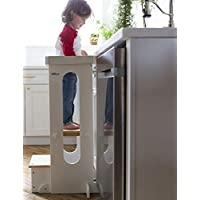 Little Partners Explore n Store Learning Tower Kids Adjustable Height Kitchen Step Stool for Toddlers or Any Little Helper (White w/Natural)