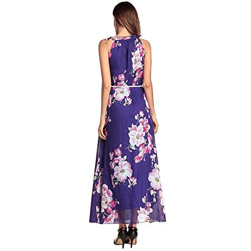 Cocktailparty Kleid Strand Print Frauen Maxi Dress Langes Sundresses Sleeveless Bohemian Dame Chiffon Kleider Sommer Reizvolles Purple 4OxqvwwRP