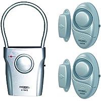 Techko S028 (2 pcs) Mighty Mini Alarms & (1 pc) Ultra Slim Door Guard Alarm - (3 pack)