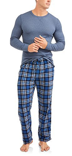 Hanes Mens Adult Xtemp Long Sleeve Crew Shirt & Fleece Plaid Pant Pajamas PJ Set - Blue Heather,Blue Heather,X-Large