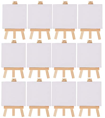 Mini Canvas and Easel Set- 12-Pack Mini Canvas Panels and Wood Easels, Small Stretched Canvas, Professional Kids Art Supplies, for Drawing, Painting, Craft, Art Project, DIY, 3.125 x 3.125 Inches